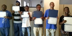 At the completion of the month, program participants were each presented with a certificate. From left are Joshua Poole, Shaquille Coleman, Kendarious Durham, Jorrey Simmons, D'Angelo Waters, Shantay Smith.