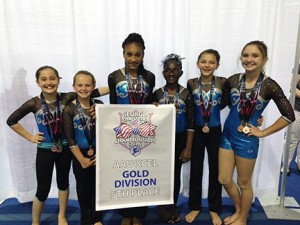 Submitted by Melissa Singley: Sumter Gymnastics' gold-level members traveled to Carrollton for the state tournament in April. Shown above, from left: Myer Bernstein, Mia Mixon, Madison Smith, Madison Ingram, Morgan Minick, and Macie Deriso.