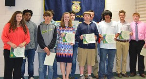 These Schley FFAers were recognized at the banquet with Greenleaf degrees.