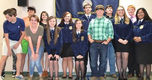 These Schley FFAers were recognized at the banquet  for their work at the Georgia National Fair.