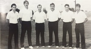 From the Southland Academy 1986-87 yearbook:   Pictured above are the members of the 1986 Raiders coaching staff. From left: Gary Rhodes, Willis Jones, Head Coach, Loveard McMichael, Don Marchman, Gary Rhodes, and Jerry Perkins.