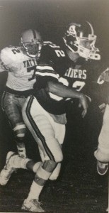 From the Southland Academy 1986-87 yearbook: A defensive back from the 1986 Raiders football team presses forward in pursuit of a Tatnall Square for on Sept. 12, 1986.