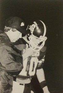 From Southlannd Academy 1987 yearbook:   Raider head coach, Loveard McMichael, takes a moment to confer with Southland quarterback, Stephen Summers, during a break in the action during a 1986 contest.