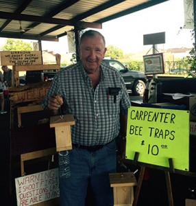 Robert Melton with some of woodworking products.