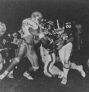 From the 1987 Southland Academy Yearbook:   Southland's Chan Reeves (25) rushes past a defender as Paul Kim (42) blocks during an early-season contest during the Raiders' 1986 season.