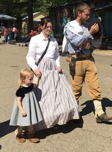 Some of the reenactors' family members also dressed the part.