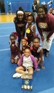 Submitted Photo:  The five and six year-old Semionles: Coaches : Channin Thorn, K'veona Mathis, and Brandy Mathis (not pictured) Cheerleaders: Paisley Perry, Brianna Williams, Khamoria Watson, Au'Promyce Mann, Kyndall Wilkerson, and Sarah Wiley (not pictured).
