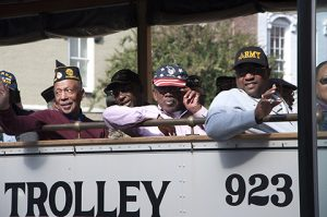 The City of Americus trolley carried jubilant veterans both young and young at heart.