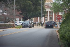The scene in front of the GSW Administration Building Wednesday as the lock down continued.