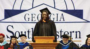 SUBMITTED BY GEORGIA SOUTHWESTERN STATE UNIVERSITY:   Keynote speaker Jessica Wright delivers her address to the Class of 2016.