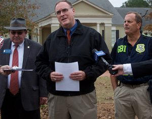 At the first press conference, held after noon Wednesday, Americus Police Chief Mark Scott, center, is shown with Vernan Keenan, director of the GBI, at left; and Special Agent in Charge Danny Jackson, at right, of the GBI Region 3 Office, Americus.