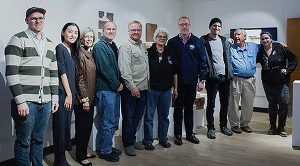 From left are Justin Hodges, lecturer of photography and digital arts; Shasha Wang; Lynda Lee Purvis, interim associate vice president for Academic Affairs; Keaton Wynn, associate professor of Visual Arts; Chuck Wells, associate professor of Visual Arts; Laurel Robinson, professor and department chair for Visual Arts; Charles Patterson, GSW interim president; Jordan Walker, GSW Visual Arts graduate with an MFA from Long Island University; Ralph Harvey, professor emeritus of Visual Arts; and Elise Beatrice, studio technician in 3D Studio.