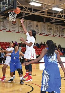 SUBMITTED BY SGTC:   La'Deja James was the top scorer for the Lady Jets with 15 points in the LAdy Jets' tournament opener against Broward College. Seven of James' points were from the foul line. James hit seven of seven shots from the free throw line.
