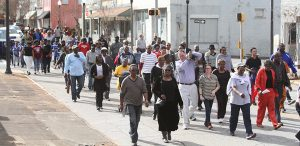 MICHAEL MURRAY/ATR: Dozens of locals marched from the Sumter County Courthouse to the Friendship Missionary Baptist Church for a program celebrating the life of Dr. Martin Luther King, Jr.