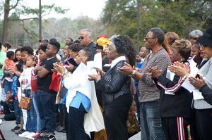 A sizeable crowd gather Monday at the Sumter County Courthouse for the annual Martin Luther King Jr. celebration hosted by the local Martin Luther King Jr. Memorial Association.