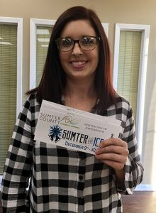 Jenny Story was the first winner of Sumter on Ice tickets.