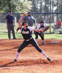 MICHAEL MURRAY I ATR: GSW freshman, Shannon Gibson, turns up the heat during game two of the Lady 'Canes' Feb. 24 series against Brewton-Parker.