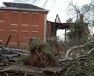 The former Rees Park School, home to Sumter Players, was heavily damaged. The  Times-Recorder will publish a 10-year retrospective in the coming weeks on the tornado and how far the community and how far it's come.